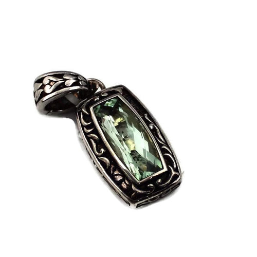 STERLING SILVER 7.85CT GREEN AMETHYST ENGRAVED PENDANT, NEW ITEM #AR1008-GAM