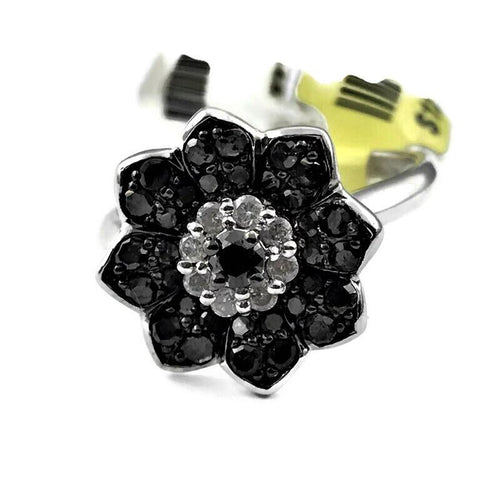 Ladies Black and White Diamond Fashion Ring in 925 Sterling Silver