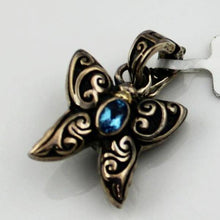 ARISTA STERLING SILVER SMALL ENGRAVED BUTTERFLY CHARM WITH BLUE TOPAZ & 18KY GOLD ACCENTS, NEW ITEM #C-10 BTOPAZ