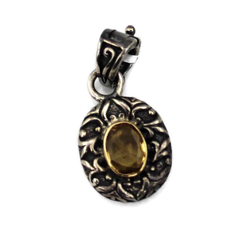 Arista Sterling Silver pendant/charm with Lemon Quartz & 18KY Gold Accents, NEW ITEM #C-434