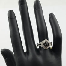 Ladies Black and White Diamond Ring in 925 Sterling Silver