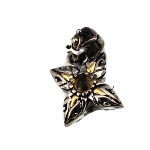 ARISTA STERLING SILVER ENGRAVED FLOWER CHARM W/ CITRINE GEMSTONE & 18KY GOLD ACCENTS, NEW ITEM #C-8 CIT