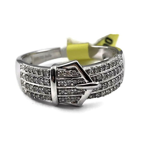 Ladies 925 Sterling Silver 1/4 TW Diamond Belt Buckle 6 mm Wide Band Ring