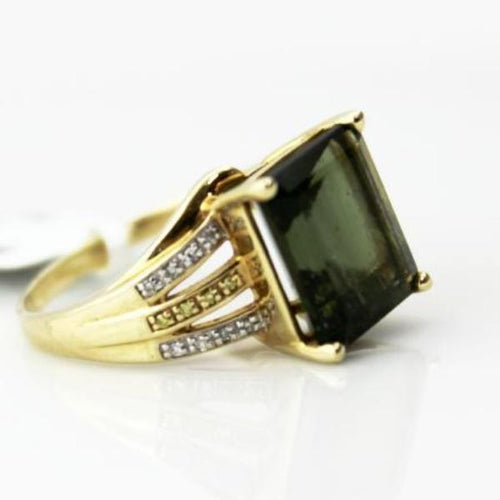 10KY Gold Emerald-Cut Peridot Birthstone Mother's Ring Diamond accent Sz. 8.5 Pre-Owned #333729B