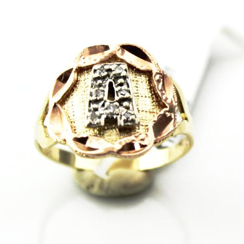 Lady's 14K Solid Yellow and Rose Gold Diamond Accent Initial - A- Ring sz. 6.5, this is Pre-Owned Item #345785a