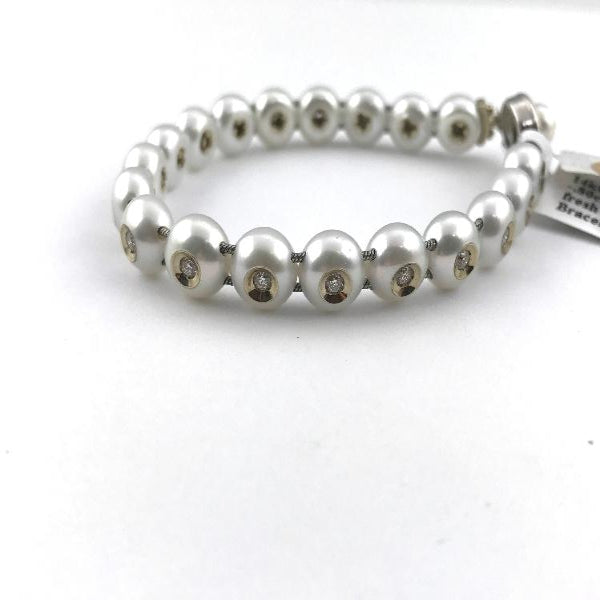 galatea diamond in a pearl bracelet