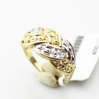 PLAIT RING, Ladies Two-Tone 10K Gold with Diamond Accent Ring SZ 7