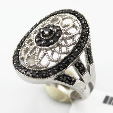 Ladies 925 Sterling Silver Two Tone Marcasite Stone Cocktail Ring, sz. 7.25