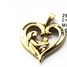 10K YELLOW GOLD DIAMOND MOTHER-CHILD HEART PENDANT CHARM Pre-Owned #288983