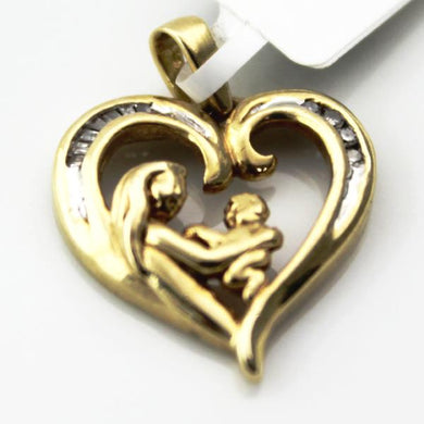 10K YELLOW GOLD DIAMOND MOTHER-CHILD HEART PENDANT CHARM