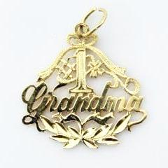 VINTAGE 14K SOLID YELLOW GOLD # 1 GRANDMA PENDANT  CHARM, this is Pre-Owned Item #230448M