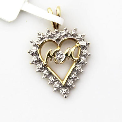 14K Solid Yellow and White Gold Diamond Accent Mom Open Heart Charm Pendant