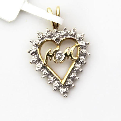 14K Solid Yellow and White Gold Diamond Accent Mom Open Heart Charm Pendant Pre-Owned #v36963