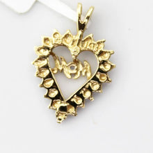 14K Solid Yellow and White Gold Diamond Accent Mom Open Heart Charm Pendant #v36963
