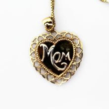 "10K White & Yellow Solid Gold ""Mom"" Heart Charm Pendant with 18"" Box Link Chain Pre-Owned #292670d"