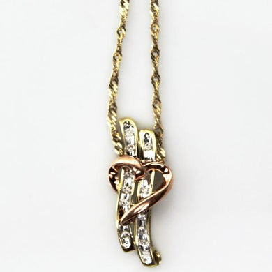 14K Yellow Solid Gold Twist Chain with 10KY Gold Diamond Heart Charm Pendant