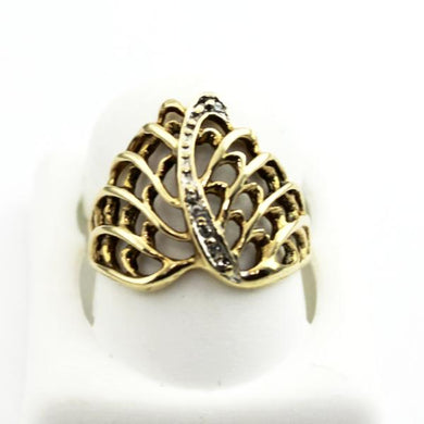 10K YELLOW GOLD DIAMOND ACCENT FILIGREE RING, MOTHER'S DAY JEWELRY, Sz 5.5