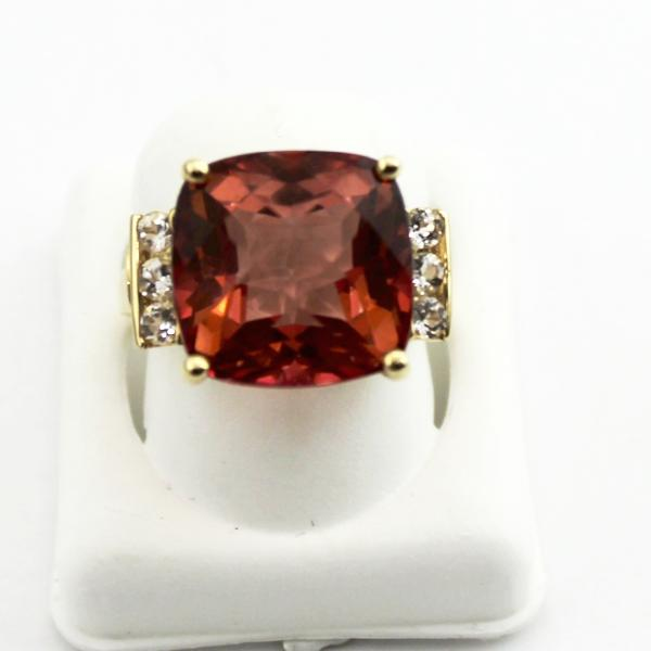 14K Yellow Gold Ladies Orange Synthetic stones Cocktail Ring sz 6.25 Pre-Owned #v47020