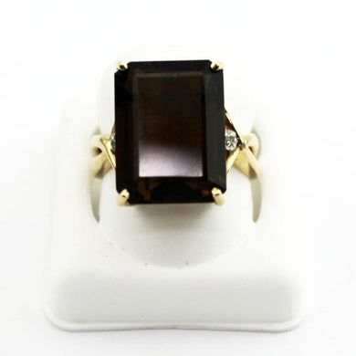 10K Yellow Solid Gold Ladies Smoky Quartz Ring, Mother's Day Jewelry, sz 6.75