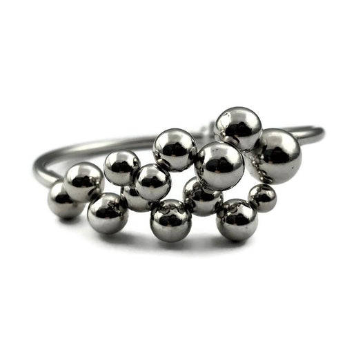 Sterling Silver Italian High Polish Bypass Multi-Bead Bangle