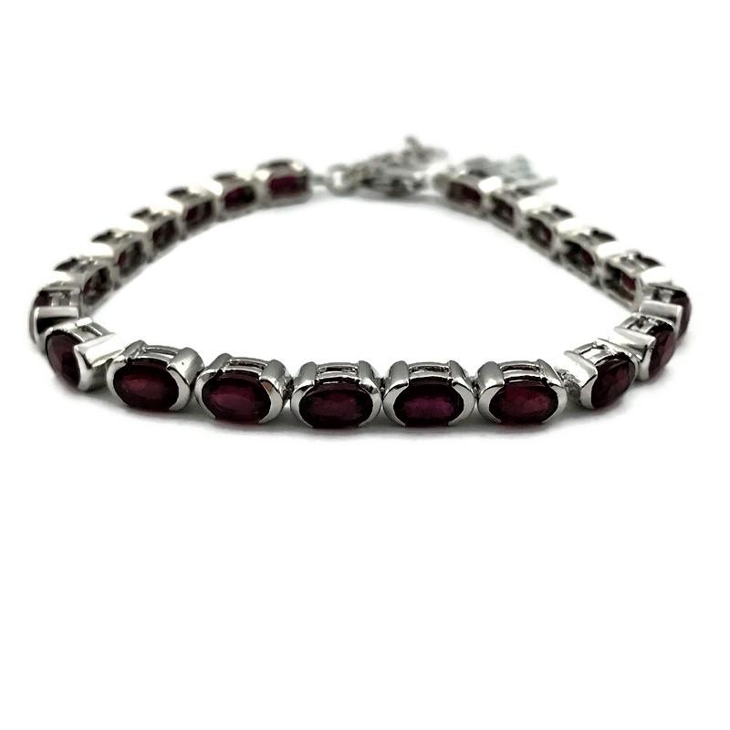 Ladies 14.5 CT Oval Red Ruby Tennis Bracelet in 925 Sterling Silver 7.5