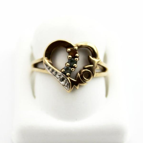 10K Solid Gold Heart Mom 3 birthstone Ring, Mother's Day Jewelry Pre-Owned #249356b
