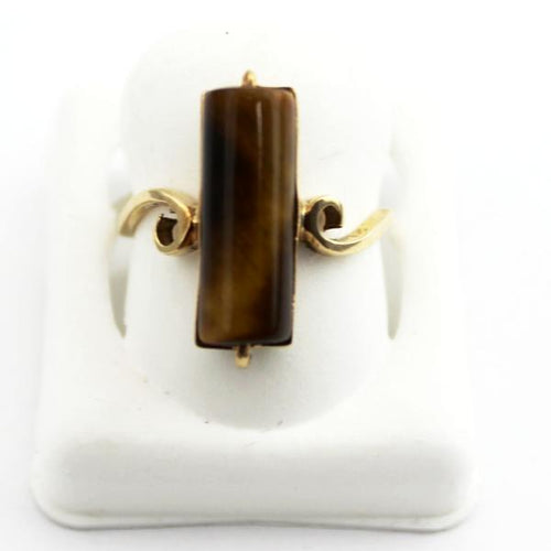 10K Yellow Gold Tiger's Eye Solitaire Ring, Mother's Day Jewelry, Sz. 6.25 Pre-Owned #337874h