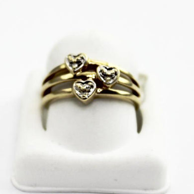 10K Yellow Gold Diamond Accents Triple Heart Ring, Mother's Day Jewelry sz. 7