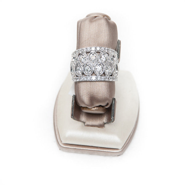 1.50CT LADIES TEARDROPS RING IN 14KW Pre-Owned #JG1340
