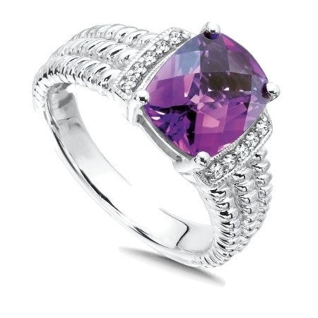 Colore SG Sterling Silver Amethyst White Diamond Ring, New item #LVR524-DAM