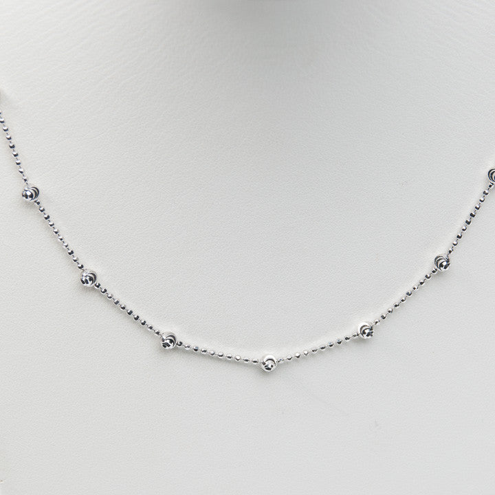 ST SILVER D-C MOON BEAD 3.2MM CHAIN, this is New Item #Q-5466-20