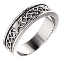 White Gold 6 mm Celtic-Inspired Band