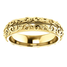 14K Yellow Gold 5 mm Sculptural Band with Milgrain Center
