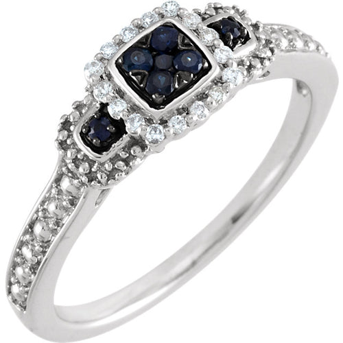 Sterling Silver Blue Sapphire & .06 CTW Diamond Halo-Style Illusion Ring, New item #69837