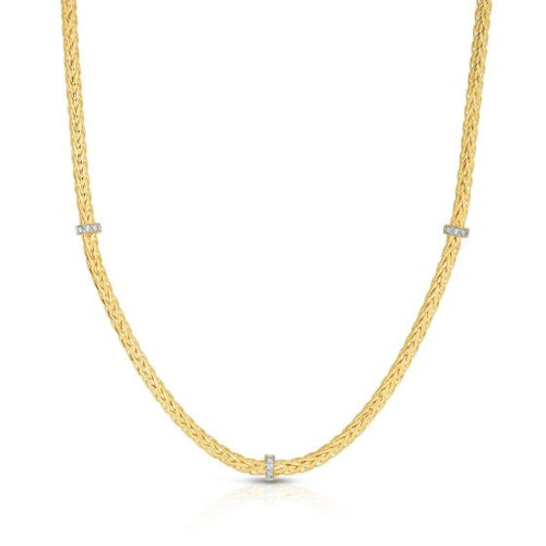 Phillip Gavriel 14K Yellow Gold Fancy Woven Stationed Diamond Necklace 17