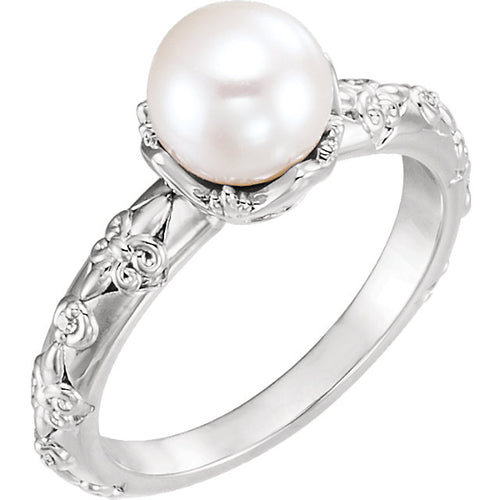 14K White/Yellow/Rose Freshwater Cultured Pearl & .02 CTW Diamond Vintage-Inspired Ring, New item #6498