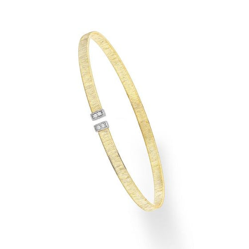 14k Gold Yellow/Rhodium Finish 3mm Textured Flat Diamond Cuff Bangle New item  #BG2238
