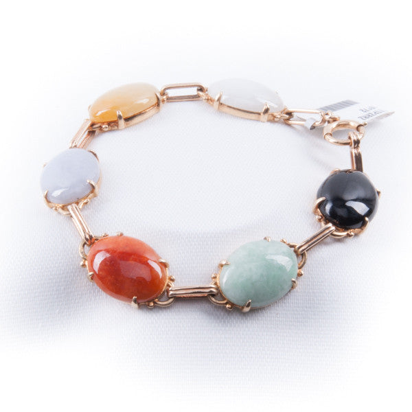 14KY MULTI COLOR STONES BRACELET Pre-Owned #285593A