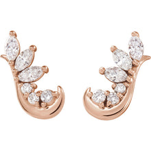 14K Rose gold 1/4 CTW Diamond Earring Climbers