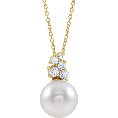 Yellow Gold Freshwater Cultured Pearl & 1/4 CTW Diamond 16-18