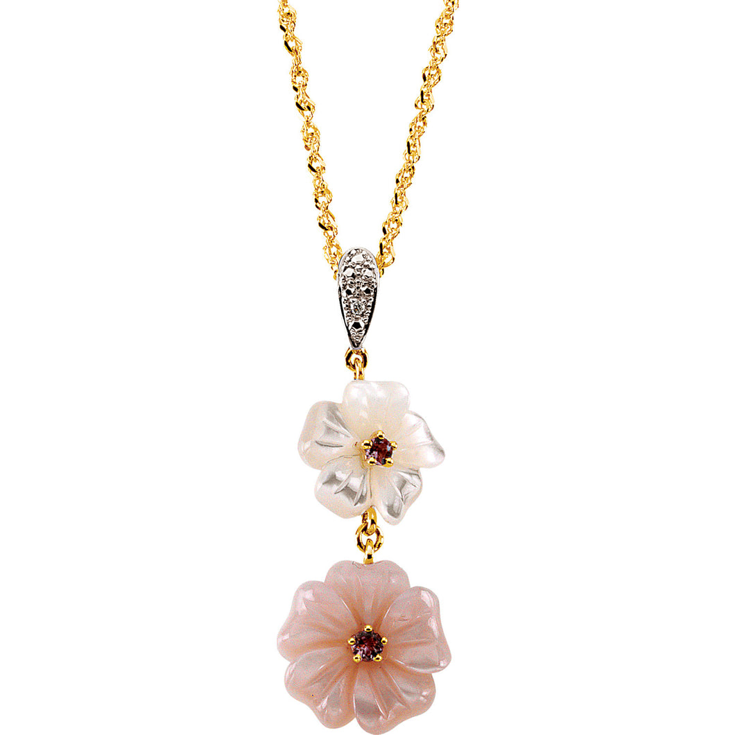 Pink Tourmaline, Mother of Pearl & Diamond Flower 18