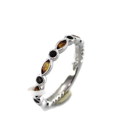 Colore Sg Sterling Silver Citrine and Smoky Quartz Stacking Band, New item #lvr721-ctsq