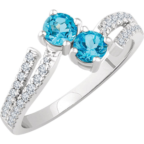 14K White Swiss Blue Topaz & 1/4 CTW Diamond Ring, New item #652700