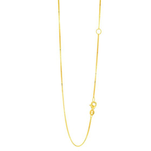 Ladies Solid 14k Yellow Gold 0.8mm Classic Box Chain 18'' with Extender at 16