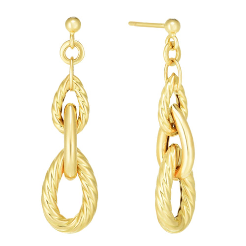 Phillip Gavriel 14KY Gold Chain Pera Link 41x10.8mm Polished Post Drop Earrings, New item #ER10232
