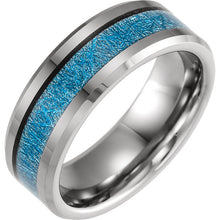 Men's Tungsten Wedding Engagement Band w/Blue Meteorite Inlay Size 11,12.5, New item #TAR1