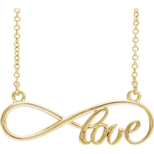 "14K Yellow or White Gold Love Infinity-Inspired 17"" Necklace, New #86075"