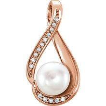 Rose Gold Freshwater Cultured Pearl & .04 CTW Diamond Pendant