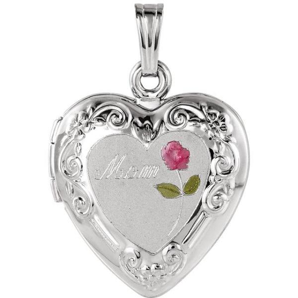 Sterling Silver Mom Heart Shape Locket with Rose, this is New Item #21845:241004:P