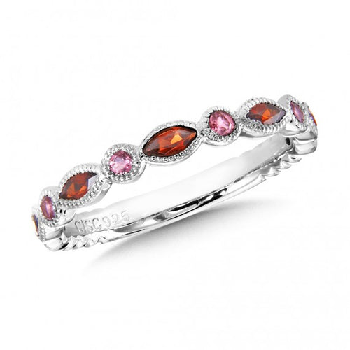 Colore Sg Sterling Silver Garnet and Pink Tourmaline Stacking Band, New item #lvr721-gtptur